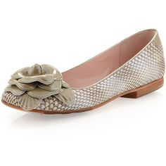 Taryn Rose Breanna Ballet Flat ($84) ❤ liked on Polyvore featuring shoes, flats, ivory, round toe ballet flats, patent leather shoes, snakeskin ballet flats, ballet shoes and flat shoes