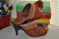 Vintage Womens Shoes High Heels Clogs Gold by vintagefinds61, $34.00