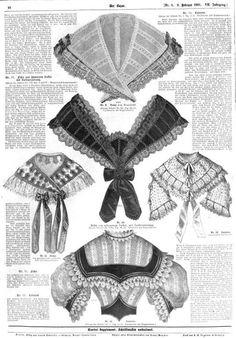 Victorian Civil War Era fashion; lace fichu from German Magazine Der Bazar (1861) Source: http://books.google.com/books?id=OJ1LAAAAcAAJ&printsec=frontcover&dq=der+bazar+1861&hl=en&sa=X&ei=25lwUvWyGM_PigLCyoHQCg&redir_esc=y#v=onepage&q=der%20bazar%201861&f=false