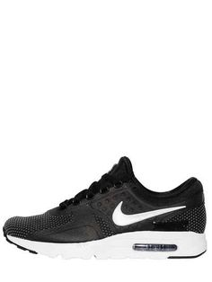 NIKE - AIR MAX ZERO NYLON SNEAKERS - SNEAKERS - BLACK - LUISAVIAROMA -  Reinforced eyelets . Heat-sealed details . Visible air chamber. Removable  insole . b8de1f9ef350e