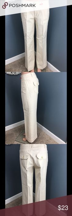 Cream off white trouser cut pants Gap Fuller cut through the leg. Great for work and this color goes with anything. Excellently used condition. GAP Pants