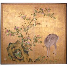 japanese screening | Two Panel Japanese Screen: Painting, Young Buck and Rose Bush. at ...