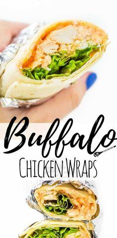 Buffalo Chicken Wraps, Wrap Recipes, Lunch Recipes, Healthy Recipes, Sandwich Recipes, Chili Recipes, Healthy Meals, Chicken Recipes Dairy Free, Keto Chicken