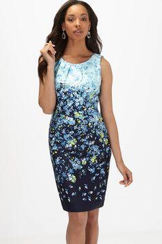 Floral Pleated Neckline Dress