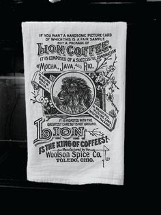 The Lion Coffee Kitchen Towel  with Vintage Advertisement Print: Soft Black and White Screen Printed Kitchen Tea Towel / Dish Towel. $11.00, via Etsy.