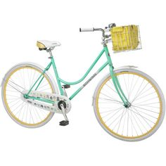 Classic women's cruiser bike with a front basket and rear coaster brake.    Product: Cruiser bikeConstruction Material...