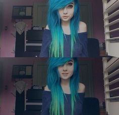 nice blue hair is one of my favs :3... by http://www.danazhairstyles.xyz/scene-hair/blue-hair-is-one-of-my-favs-3/