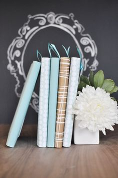 Aqua, gold, charcoal and white. A chalkboard flourish, ribbon bookmarks and a peony. So many things to love!