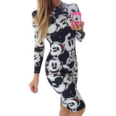 Gagaopt 2016 Women Dress Mouse Pattern Print Cute Black Blackless Fashion Long Sleeve Summer Dresses Sexy Dress Vestidos