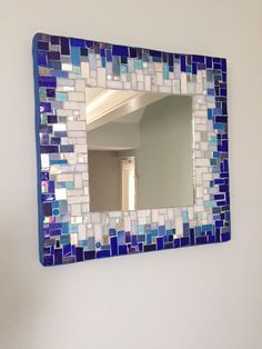 Blue and white mosaic mirror by MEandMRglass on Etsy