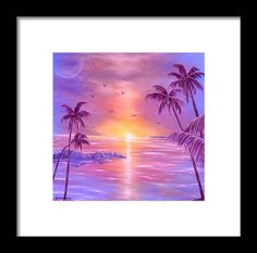 Framed Art Print,  coastal,scene,tropical,sunset,sunrise,seascape,ocean,water,island,palmtrees,impressive,bright,calm,summer,fantasy,purple,violet,mauve,lavender,gold,golden,multicolor,colorful,beautiful,image,fine,oil,painting,contemporary,scenic,modern,virtual,deviant,wall,art,awesome,cool,artistic,artwork,for,sale,home,office,decor,decoration,decorative,items,ideas
