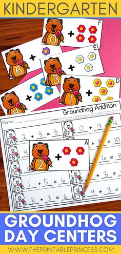 This math and literacy packet includes 6 centers and 6 extra no-prep practice pages with a fun Groundhog Day theme - perfect for the month of February! Activities are hands-on, interactive, engaging and perfect for Kindergarten while focusing on common core standards through activities on letter sounds, CVC words, rhymes, counting, addition and more!