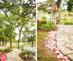 This isle decor is stunning! The color of the flowers pop against the  gorgeous trees!