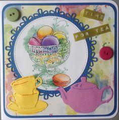 """""""Time for tea"""" met plaatje en papier van Marianne Design naar Finland Tea Party Crafts, Craft Party, Marianne Design, High Tea, Afternoon Tea, Tea Pots, Diy And Crafts, Scrapbooking, Embroidery"""