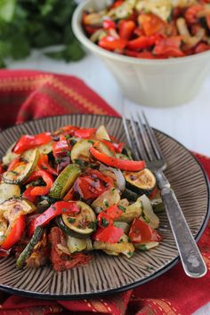 Roasted Zucchini, Tomatoes and Peppers
