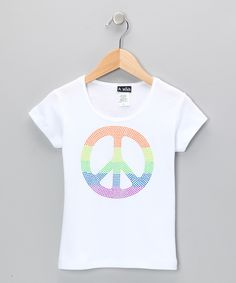 White Rainbow Peace Tee - Infant Toddler & Girls