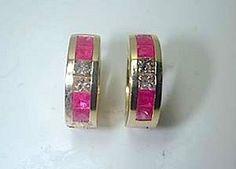 0.93ct Ruby and Diamond Earrings diamond-hoop-earrings-JEWELFORME BLUE