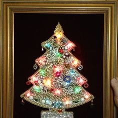 Vintage Christmas Tree Framed Picture w Lights Hand Made Using vint Jewelry | eBay