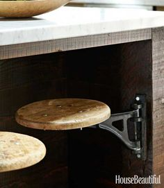 Add swing out seats to a table, workbench or island for a space saving solution!