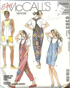 McCall's 6393 (Easy - Learn to Sew for Fun - Focus on Overlock/Serger Sewing) Overalls in 2 lengths, romper/jumper. Pull on, very loose fitting. Lrg/XLG. 1993. Bought in Goodwill 25c. Soft cotton, chambray, rayon, challis. 3 and 3/4 yds for Xlg 20-22.