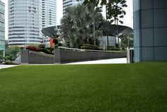 Artificial grass installation at the TM tower in Malaysia #green #design #artificialgrass #architecture