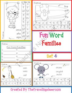 Fun Word Families Write, Cut, and Paste Activities Common Co - Complete Word Family Bundle (Includes Sets 1-4!) 51 pages!  Write, Cut, and Paste Activities  Common Core  This is a fun multisensory activity that helps your students blend and learn word families!   This set has ALL of the word families with a graphic picture of one or more of the words from each family.   You can laminate for centers or just print and use as is! .  A GIVEAWAY promotion for Fun Word Families Write, Cut, and…