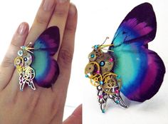 Steampunk ring butterfly ring aqua ring by CindersJewelryDesign, $50.00