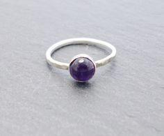 Handmade amethyst and sterling silver skinny fashion ring