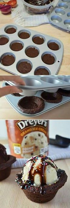 How to make your own ice cream brownie bowls... Just Desserts, Delicious Desserts, Yummy Food, Summer Desserts, Frozen Desserts, Frozen Treats, Delicious Cookies, Awesome Desserts, Gourmet Desserts