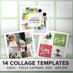 This set of multipurpose collage templates allows you to display your photos or projects with style. Make a big impression online with these 14