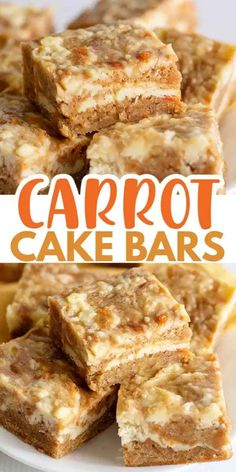 Carrot Cake Bars – Cookie Dough and Oven Mitt Carrot Cake Bars – These carrot cake bars are so moist and delicious! They have a sprinkle of cinnamon and a cheesecake swirl in them. They're the perfect Easter dessert bars. Mini Desserts, Easy Desserts, Easy Delicious Desserts, Summer Dessert Recipes, Homemade Desserts, Health Desserts, Baking Recipes, Cookie Recipes, Bar Recipes