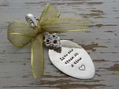 Live one spoon at a time ornament spoon - spoonie - silver - hand stamped - heart - can change ribbon color - chronic pain - chronic illness
