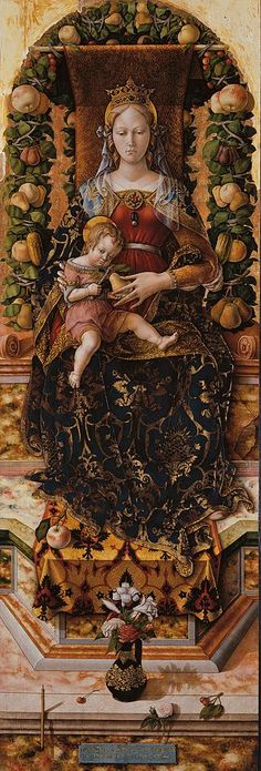 """dailyitalianart: """" Carlo Crivelli - Madonna della Candeletta - post 1490 (Madonna of the Candeletta) Pinacoteca di Brera, Milano Fun fact: in Carlo Crivelli had to remain in prison for six months because of an affair with a married. Madonna Und Kind, Madonna And Child, Renaissance Kunst, Renaissance Paintings, Italian Renaissance Art, Religious Icons, Religious Art, Mary And Jesus, Catholic Art"""
