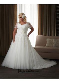 Alluring Tulle & Satin Square Neckline Natural Waistline A-line Plus Size Wedding Dress