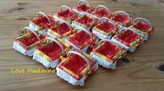 Réservé : 15 Petits paniers bois / madras contenants à dragées décoration pour mariage créole antillais exotique : Autres pièces pour créations par love-madinina