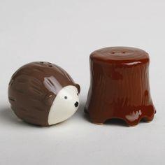 Hedgehog + Tree Stump salt and pepper shaker
