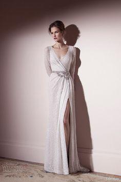 lihi hod wedding dress spring 2013 long sleeve draped bodice slit