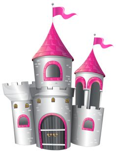 White and Pink Castle PNG Clip Art Image