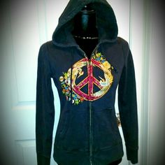 Lucky Brand Embroidered Peace Sign Hoodie Beautifully embroidered design rests on the front of this Lucky Brand hoodie;  birds, flowers & peace; dark blue-black, well constructed,  quality fabric;  excellent, lightly  worn condition,  no issues; size small. Lucky Brand Tops Sweatshirts & Hoodies
