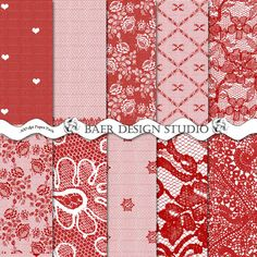 Fun and Romantic red lace digital papers perfect for Valentine's Day projects!