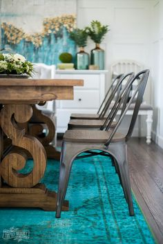 Eclectic Boho Farmhouse Dining Room Design In Teal Black