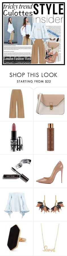 """""""Tricky Trend: Chic Culottes"""" by cindy88 ❤ liked on Polyvore featuring N°21, 8, MAC Cosmetics, Vita Liberata, Bobbi Brown Cosmetics, Christian Louboutin, Marni, Jaeger, Sydney Evan and TrickyTrend"""