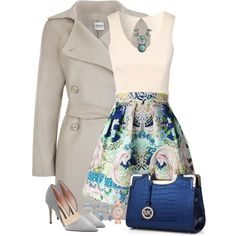 A fashion look from February 2015 featuring peplum shirt, trench coat and pleated skirt. Browse and shop related looks.