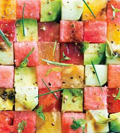 Bon Appetit June edition: Summer Cooking Manifesto. Watermelon, peach and avocado salad-yum. And gorgeous!