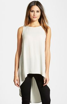 Eileen Fisher Sleeveless Silk High/Low Tunic . A breezy sleeveless tunic crafted of fluid silk is designed with a rounded neckline and dramatic high/low hem.