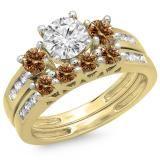 Share 1.80 Carat (ctw) 18K Yellow Gold Round Champagne & White Diamond Ladies Bridal 3 Stone Engagement Ring With Matching Band Set - Dazzling Rock #https://www.pinterest.com/dazzlingrock/