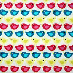 Baby Bird organic craft fabric - half meter - 100% Cotton - blue hot pink lemon on white - quilt patchwork craft bunting doll toy making