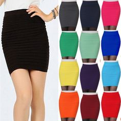 Women's Striped Sexy Mini Skirt Above Knee Clubwear Party Wrapped Pencil Skirt #New #Sexy #Clubwear
