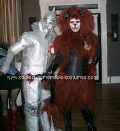 Homemade Lion and Tin Man Costumes: I decided before Halloween 2008, that my husband, cousin and myself would be the lion, tin man and the scarecrow. I have a really creative mind and it