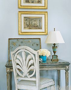 suzanne kasler, house beautiful august 2011 (?).  desk, blue painted tray...